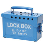 Brady Blue Steel Combined Lock Storage & Group Lock Box 45190 - 9 in Width - 6 in Height - 40 Padlock Capacity - 754476-45190