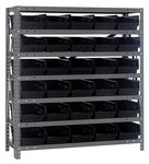 Quantum Storage 1839-104 400 lb Black Gray Steel Fixed Rack - 36 in Overall Length - 39 in Height - 30 Bins - Bins Included - 00277