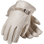 PIP 68-158 White Large Grain Cowhide Leather Driver's Gloves - Straight Thumb - 9.7 in Length - 68-158/L