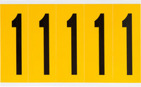 Brady 15 Series 1560-1 Black on Yellow Vinyl Number Label - Indoor / Outdoor - 1 3/4 in Width - 5 in Height - 3 7/8 in Character Height - B-946