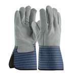 PIP 82-5066 Blue/Green Large Split Cowhide Leather Work Gloves - Wing Thumb - 82-5066/L