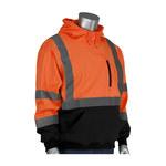 PIP Black/Orange Large Polyester Fleece Cold Weather Sweatshirt - 3 Pockets - Attached Hood - 616314-18559