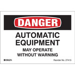 Brady Bradylite 27413LS Black/Red on White Reflective Sheeting Equipment Safety Label - 5 in Width - 3.5 in Height - B-997