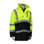 PIP Black/Yellow Large Polyester Work Jacket - 3 Pockets - Rollaway Hood - 616314-25882