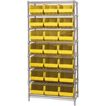 Yellow Shelves With Bins - 36 in x 18 in x 74 in - SHP-3167