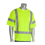 PIP 313-CNTSELY Yellow Polyester High Visibility Shirt - T-Shirt - ANSI Class 3 Rating - Fits 51.2 in Chest - 31.1 in Length - 616314-71126