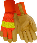 Red Steer 59060 Orange/Yellow Large Grain Pigskin Leather Driver's Gloves - Wing Thumb - 59060-L
