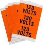 Brady 44500 Black on Orange Rectangle Vinyl Cloth Conduit / Voltage Marker - 3 1/4 in Width - 9/16 in Height - B-498