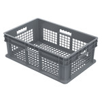 Akro-Mils 11.19 gal Gray Industrial Grade Polymer Straight Wall Container - 23 3/4 in Length - 15 3/4 in Width - 8 1/4 in Height - Mesh Side Wall - 83 lb 45 lb Stacked Capacity - 37608 GRAY