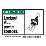 Brady 86879 Black / Green on White Rectangle Polyester Lockout / Tagout Label - 5 in Width - 3 1/2 in Height - B-302