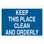 Brady B-120 Fiberglass Reinforced Polyester Blue Keep Clean Sign - 14 in Width x 10 in Height - 122721