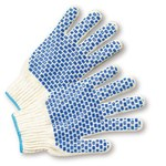 West Chester KB710SBS Blue/White Large Cotton/Polyester General Purpose Gloves - Wing Thumb - PVC Block Pattern Both Sides Coating - 9.5 in Length