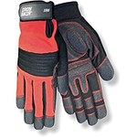 Red Steer Ironskin 166 Black/Red Large Spandex/Synthetic Leather Mechanic's Gloves - Wing Thumb - Neoprene Knuckles Coating - 166-L