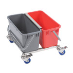 Contec 6.5 gal Blue, Red Downpress Wringer Autoclavable Double Bucket - 2720