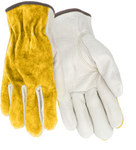Red Steer 1587 Tan Large Grain Cowhide Suede Leather Driver's Gloves - Keystone Thumb - 1587-L