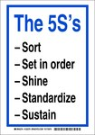 Brady B-302 Polyester Rectangle White 5S Sign - 7 in Width x 10 in Height - Laminated - 122281