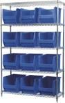 Akro-Mils Akrobin 2000 lb Adjustable Blue Chrome Steel Open Adjustable Fixed Shelving System - 12 Bins - 2000 lb Total Capacity - AWS184830282 BLUE
