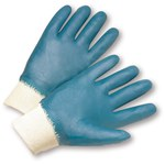 West Chester 4000 Blue Large Cotton Work Gloves - Wing Thumb - Nitrile Full Coverage Except Cuff Coating - 10.13 in Length - Smooth Finish - 4000/L