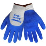 Global Glove Gripster 330 Blue/Gray 9 Cotton/Polyester Work Gloves - Rubber Palm & Over Knuckles Coating - Rough Finish - 330/9