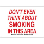 Brady B-555 Aluminum Rectangle White No Smoking Sign - 10 in Width x 7 in Height - 127968