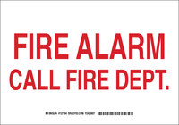Brady B-555 Aluminum Rectangle White Fire Alarm Sign - 10 in Width x 7 in Height - 127182