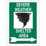 Brady B-555 Aluminum Rectangle Green Severe Weather Sign - 7 in Width x 10 in Height - 123791