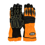 PIP AutoX 911-AX9 Black/Orange Large Kevlar/Polyurethane Work Gloves - Synthetic Fingertips Coating - 10.8 in Length - 911-AX9/L