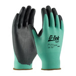 PIP G-Tek GP 33-825 Black/Green Large Nylon Work Gloves - EN 388 1 Cut Resistance - Urethane Palm & Fingers Coating - 9.3 in Length - 33-825/L