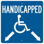 Brady B-555 Aluminum Square Blue Disabled Parking & Building Access Sign - 18 in Width x 18 in Height - 123875