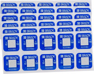 Brady TIL-1-82C/180F White on Blue Polyester Temperature Indicator Label - 0.787 in Width - 0.787 in Height - +180 F - B-7511