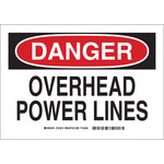 Brady B-555 Aluminum Rectangle White Overhead Power Lines Sign - 10 in Width x 7 in Height - 123611