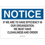 Brady B-401 Polystyrene Rectangle White Keep Clean Sign - 10 in Width x 7 in Height - 22796