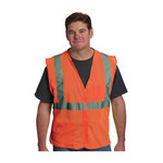 PIP 302-0702-OR Orange Large Polyester Mesh High-Visibility Vest - 2 Pockets - Fits 49.6 in Chest - 28 in Length - 616314-00369