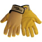 Global Glove Gripster Sport Yellow/Golden Large Goatskin Spandex Work Gloves - Leather Palm & Fingertips Coating - SG5308
