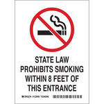 Brady B-555 Aluminum Rectangle White No Smoking Sign - 7 in Width x 10 in Height - 123055