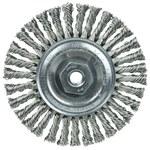 Weiler Stainless Steel Wheel Brush 0.02 in Bristle Diameter - Arbor Attachment - 4 in Outside Diameter - 13135