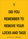 Brady B-302 Polyester Rectangle Yellow Lockout / Tagout Sign - 5 in Width x 7 in Height - Laminated - 89093