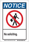 Brady B-555 Aluminum Rectangle White Soliciting Sign - 10 in Width x 14 in Height - 48990