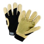 West Chester Ironcat 86355 Black/Yellow Large Grain Pigskin Polyester Cold Condition Glove - Keystone Thumb - 9 in Length - Smooth Finish - 86355/L