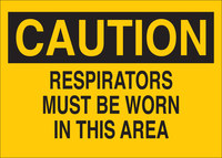 Brady B-302 Polyester Rectangle Yellow Respirator Sign - 10 in Width x 7 in Height - Laminated - 84556