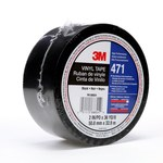 3M 471 Black Marking Tape - 1 in Width x 36 yd Length - 5.2 mil Thick - 06415