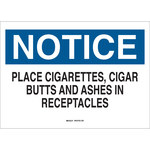 Brady B-401 Polystyrene Rectangle White Cigarette Disposal Sign - 10 in Width x 7 in Height - 22804
