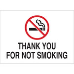 Brady B-401 Polystyrene Rectangle White No Smoking Sign - 14 in Width x 10 in Height - 141933