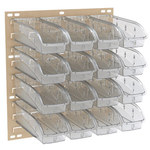 Akro-Mils Ready Space 150 lb Stone White Steel Double Sided Louvered Floor Rack - 24 5/8 in Overall Length - 23 in Width - 52 in Height - 64 x 305B1 Bins - 30553B1