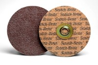 3M Scotch-Brite Non-Woven Aluminum Oxide Maroon Aluminum Surface Conditioning Quick Change Disc - Nylon Backing - A Weight - Medium - 5 in Diameter - 5/8-11 in Center Hole - 64359