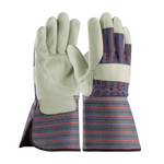 PIP 87-1663 Black/Blue/Red Large Grain Cowhide Leather Work Gloves - Wing Thumb - 12.3 in Length - 87-1663/L