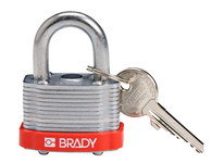 Brady Red Steel 5-pin Keyed & Safety Padlock 143126 - 1 5/16 in Width - 1 1/5 in Height - 17/64 in Shackle Diameter - 1 Key(s) Included - 754473-20798