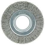 Weiler Stainless Steel Wheel Brush 0.014 in Bristle Diameter - Arbor Attachment - 6 in Outside Diameter - 2 in Center Hole Size - 03520