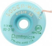 Chemtronics Soder-Wick #3 Green Rosin Flux Coating Desoldering Braid - 10 ft Length - 0.08 in Diameter - Rosin Flux Core - 80-3-10