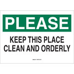 Brady B-555 Aluminum White Keep Clean Sign - 14 in Width x 10 in Height - 47533